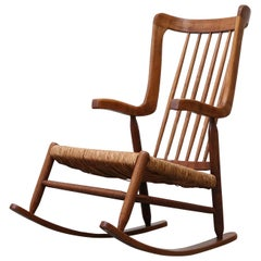 Midcentury Teak Spindle Back Rocking Chair with Rush Seat