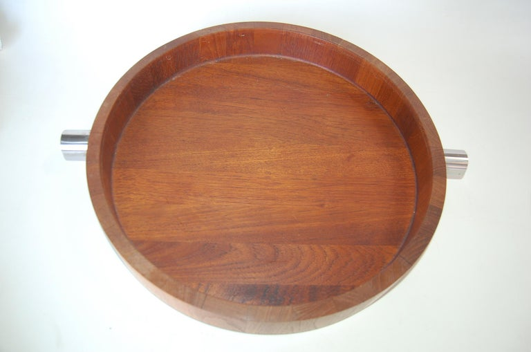 Mid Century Teak And Stainless Steel Accented Salad Serving Bowl By Cobblewood Lundtofte Denmark.   Marked #6070   Measures 2.5