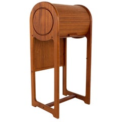 Midcentury Teak Tambour Door Foyer Entry Console Table