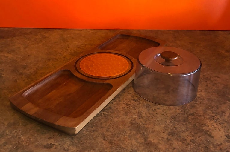 Danish Midcentury Teak Tray / Cheese Board with Dome by Luthje Wood of Denmark For Sale