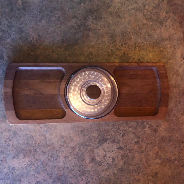 20th Century Midcentury Teak Tray / Cheese Board with Dome by Luthje Wood of Denmark For Sale