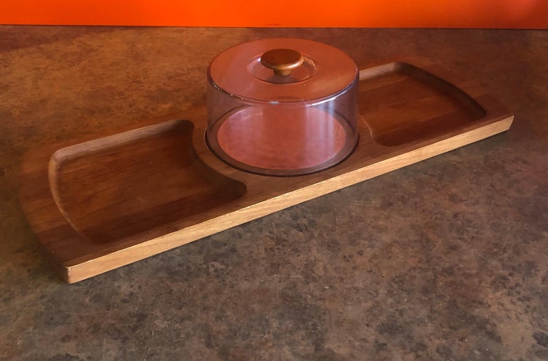 Stainless Steel Midcentury Teak Tray / Cheese Board with Dome by Luthje Wood of Denmark For Sale