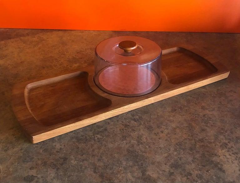 Midcentury Teak Tray / Cheese Board with Dome by Luthje Wood of Denmark For Sale 1