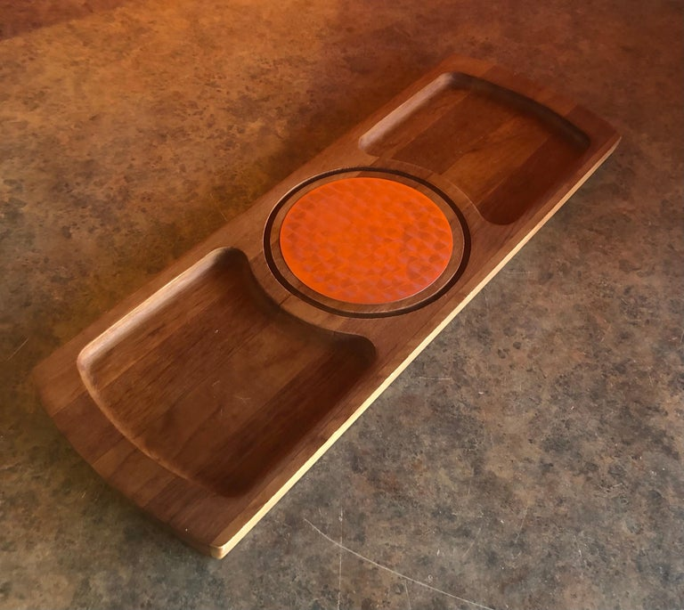 Midcentury Teak Tray / Cheese Board with Dome by Luthje Wood of Denmark For Sale 2