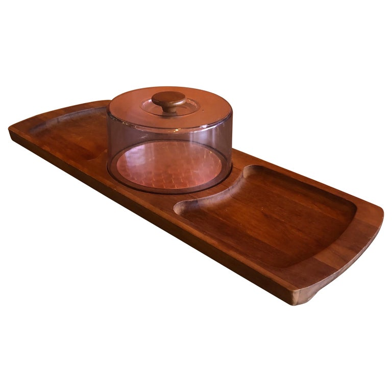 Midcentury Teak Tray / Cheese Board with Dome by Luthje Wood of Denmark For Sale