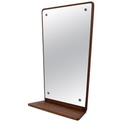 Midcentury Teak Wall Mirror with Shelf, Denmark, by Jansen Spejle, 1960s