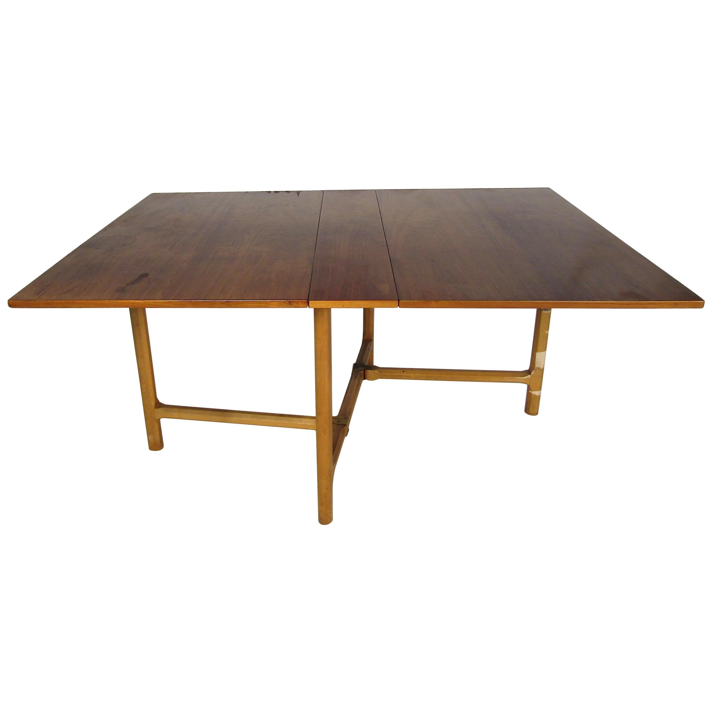 Midcentury Teak Wood Drop-Leaf Dining Table