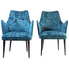 Midcentury Teal Velvet Chairs by Osvaldo Borsani, Italy