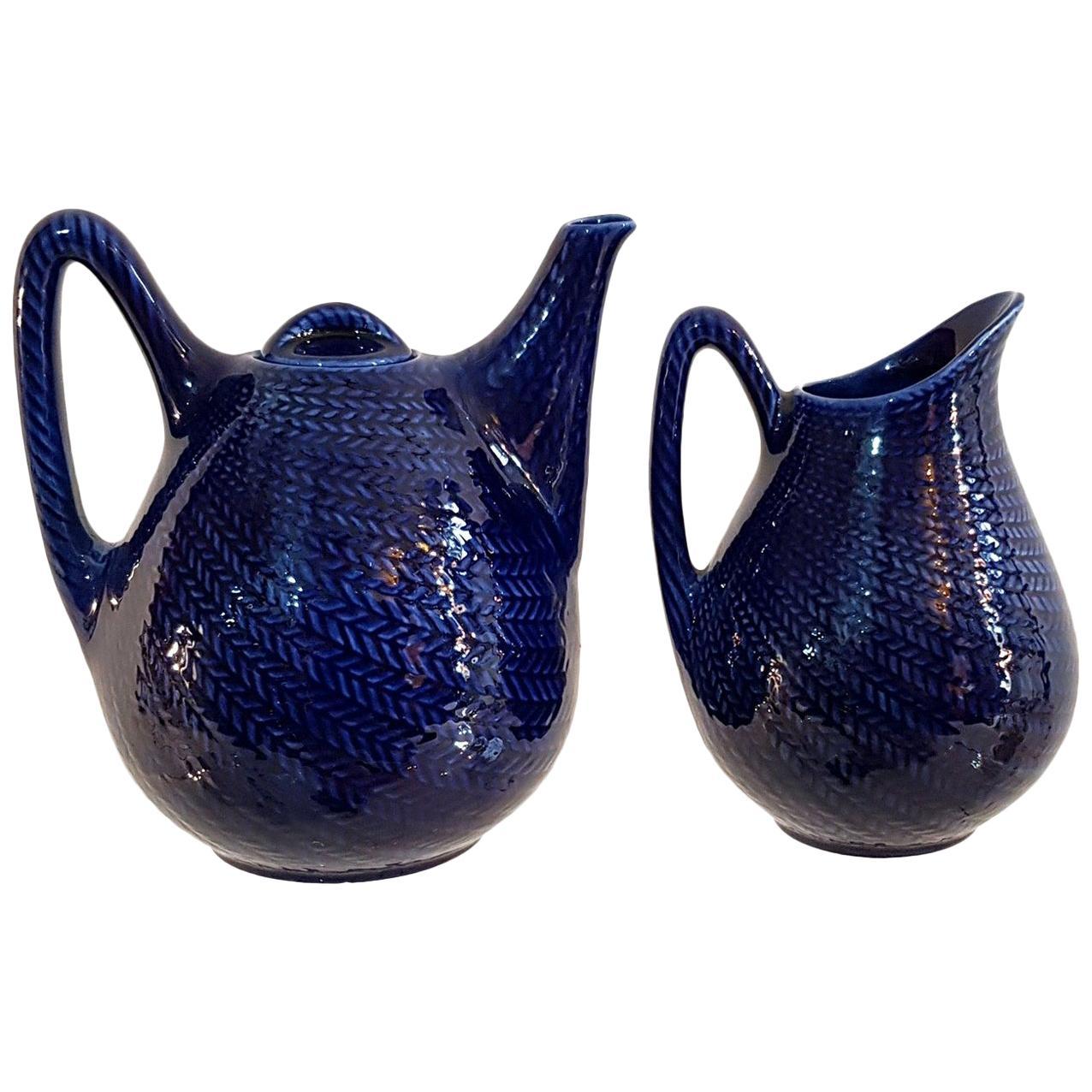 """Midcentury Teapot and Jug """"Blå eld"""" by Hertha Bengtsson for Gustavsberg, Sweden"""