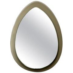 Midcentury Tear Drop Italian Mirror with Taupe Glass Frame
