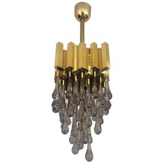 Midcentury Teardrop Golden Brass Long Chandelier by Lumica, Barcelona, 1970s