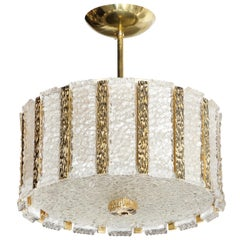 Midcentury Textured Glass and Polished Brass Chandelier by Bakalowits & Söhne