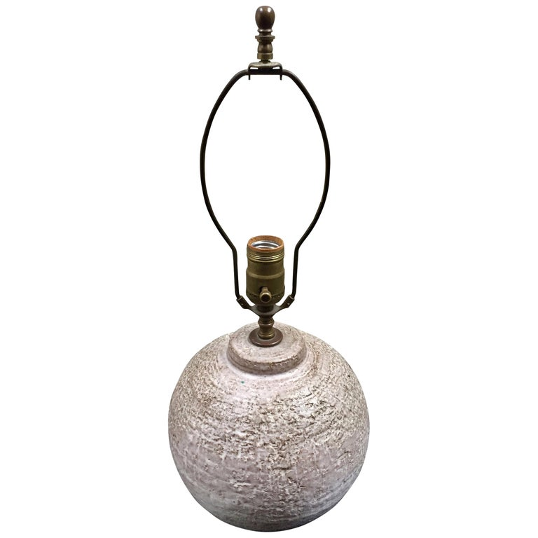 Mid Century Orb Lamp: Midcentury Textured Orb Shaped Ceramic Lamp In The Style