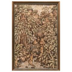 Midcentury Thai Landscape Gouache Painting on Linen
