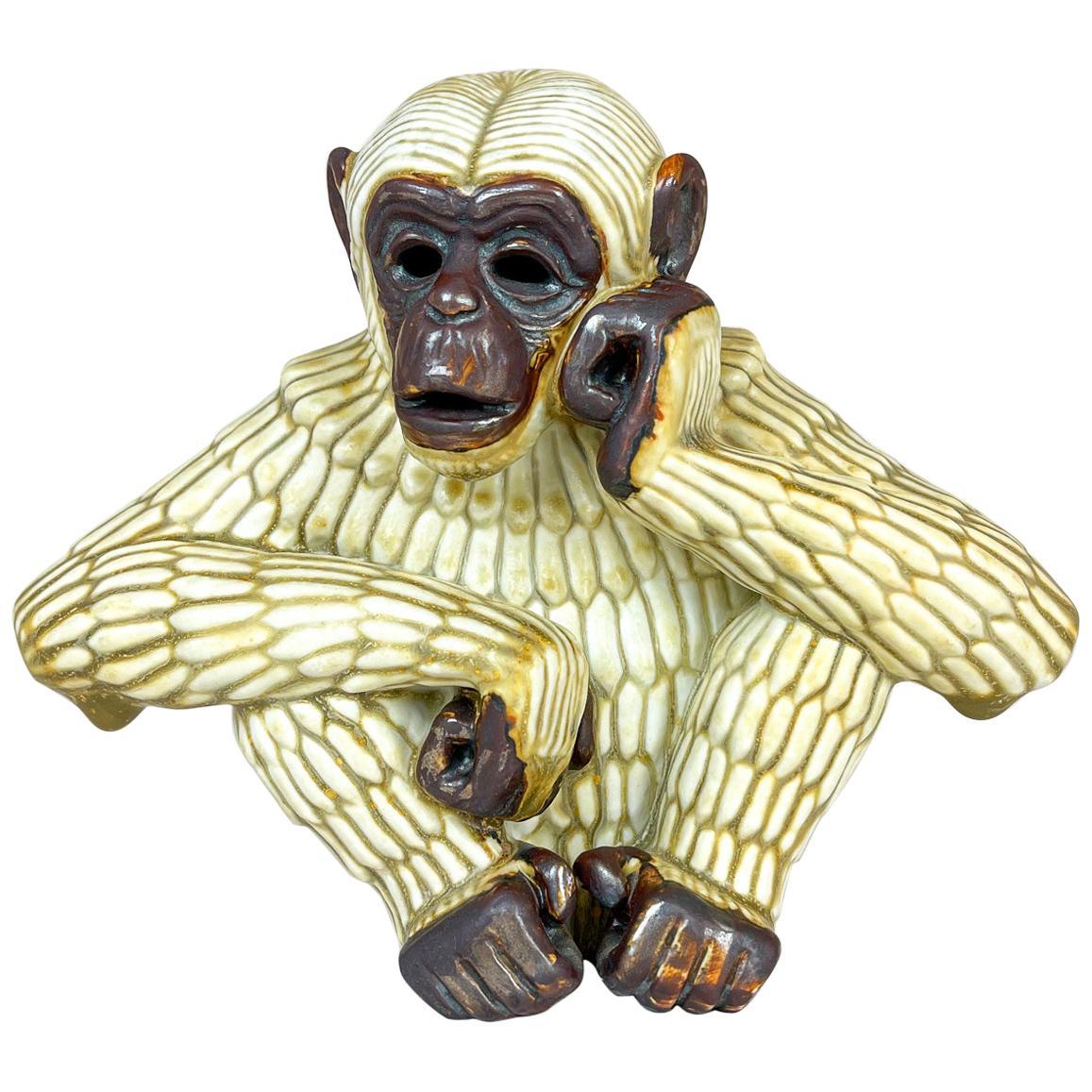 Midcentury Thinking Ape Sculpture Rörstrand Gunnar Nylund, Sweden, 1950s