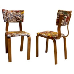 Midcentury Thonet Bentwood Side Chairs with Pablo Picasso LTD Edition Fabric