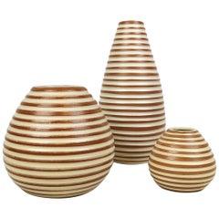"Midcentury Three Art Deco Ceramic Vases Upsala-Ekeby ""Rondi"""