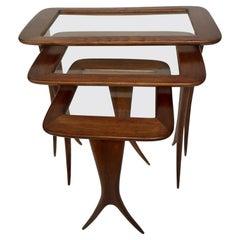 Midcentury Three Italian Nesting Tables Tables Carlo de Carli