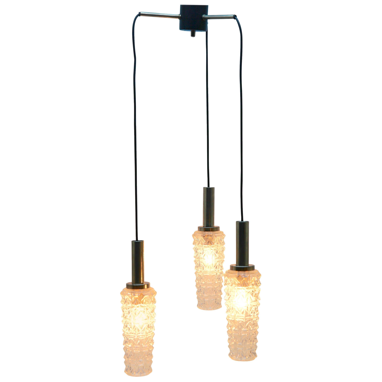 Midcentury Three Lamp Chrome Hanging Pendant Light Fitting