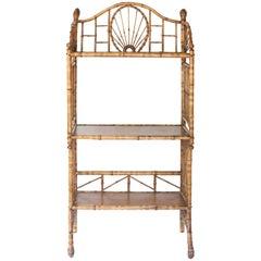 Midcentury Three-Tier Rattan Shelf