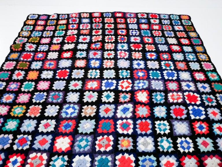 Swedish Midcentury Throw, Blanket, Handmade in Sweden, 1950s For Sale
