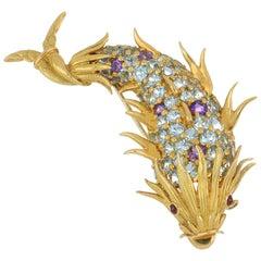 Midcentury Tiffany & Co. Schlumberger 18 Karat Gold Gemstone Fish Pin