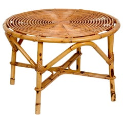 Midcentury Tito Agnoli Italian Round Rattan and Bamboo Coffee Table, 1960s