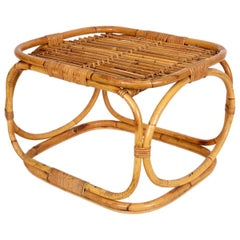 Midcentury Tito Agnoli Style Italian Rattan and Bamboo Coffee Table, 1960s
