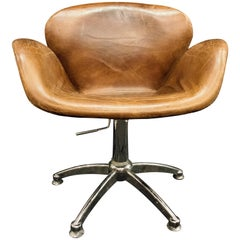 Midcentury Tobacco Color and Steel Legs Italian Leather Aviator Armchair