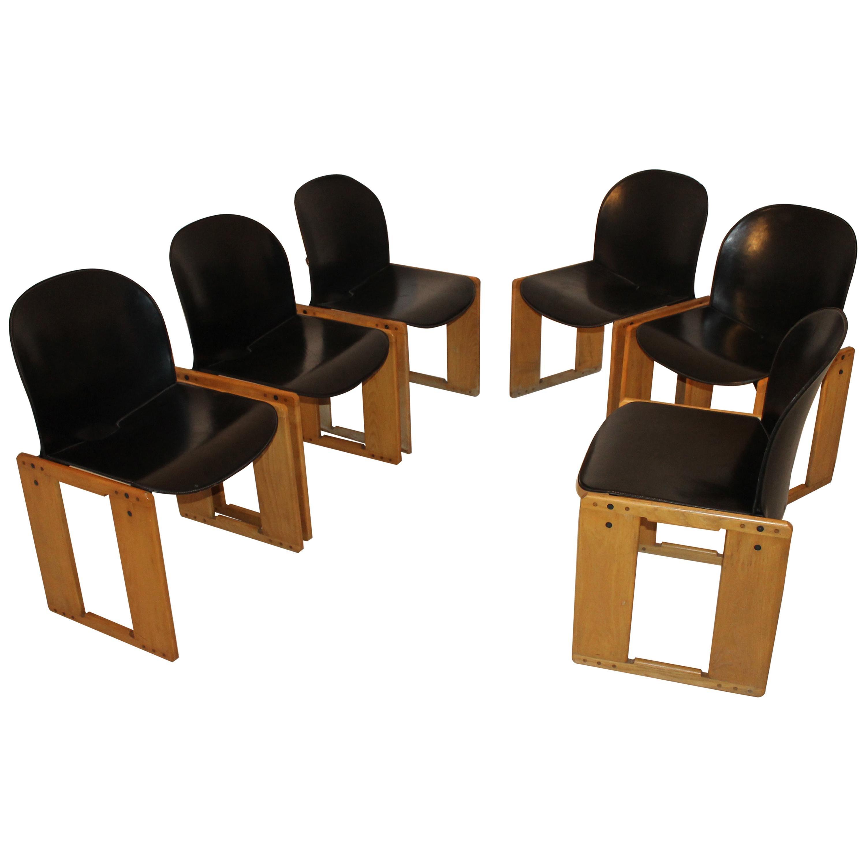"Midcentury Tobia Scarpa Black Leather ""Dialogo"" Chair for B&B Italia, 1970s"