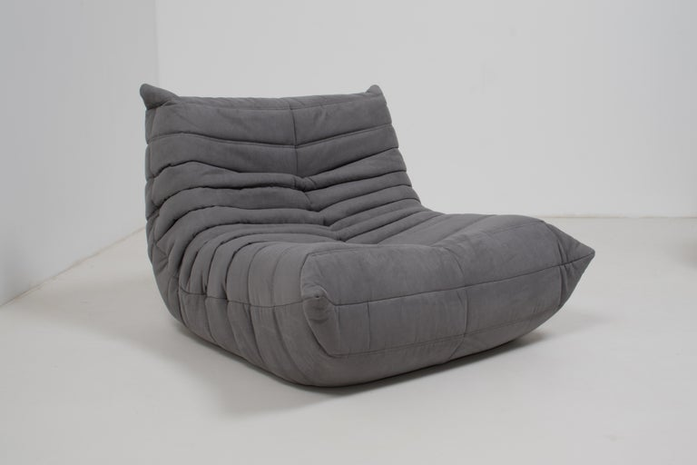 French Midcentury Togo Grey Armchair by Michel Ducaroy for Ligne Roset For Sale