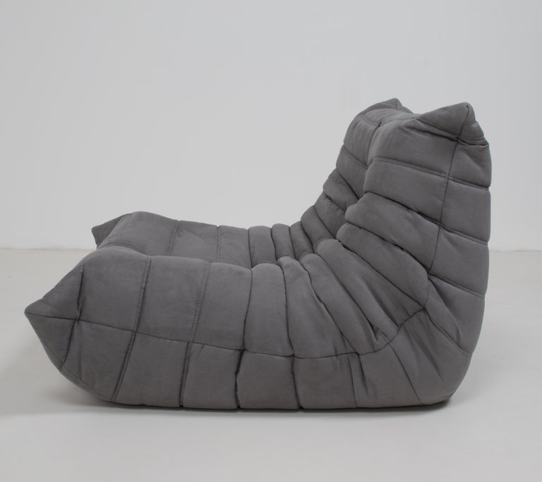Midcentury Togo Grey Armchair by Michel Ducaroy for Ligne Roset For Sale 1