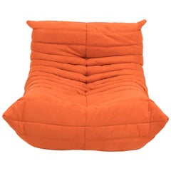 Midcentury Togo Orange Armchair by Michel Ducaroy for Ligne Roset