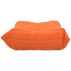 Midcentury Togo Orange Footstool by Michel Ducaroy for Ligne Roset