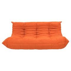 Midcentury Togo Orange Large Sofa by Michel Ducaroy for Ligne Roset
