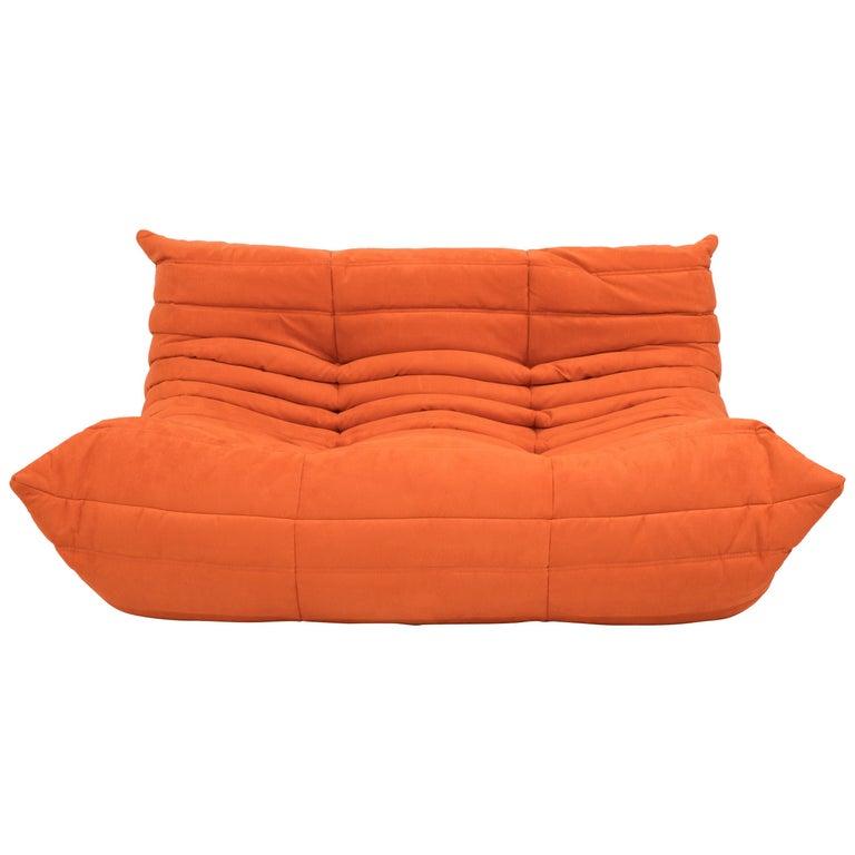 Midcentury Togo Orange Sofa by Michel Ducaroy for Ligne Roset For Sale