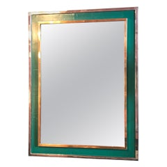 Midcentury Tommaso Barbi Green Mirror in Chrome and Brass, Italy, 1970s