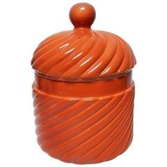 Midcentury Tommaso Barbi Signed Porcelain Red B. Ceramiche Crock Ice Bucket