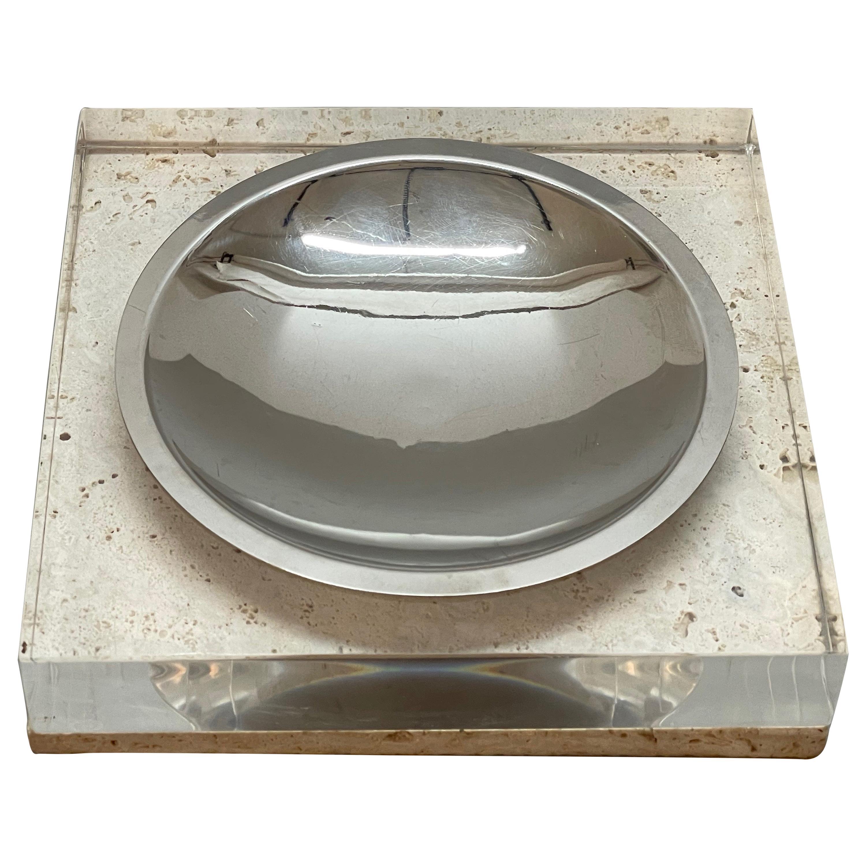 Midcentury Tommaso Barbi Travertine Lucite Italian Centerpiece Bowl, Italy 1970s