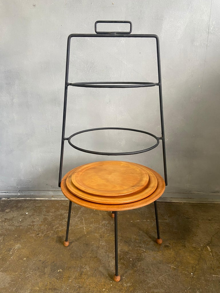 Midcentury Tony Paul Three-Tier Stand In Good Condition For Sale In BROOKLYN, NY