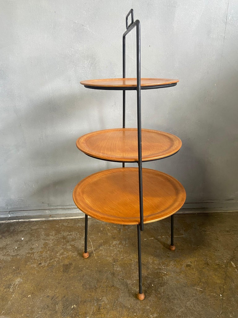 Metal Midcentury Tony Paul Three-Tier Stand For Sale
