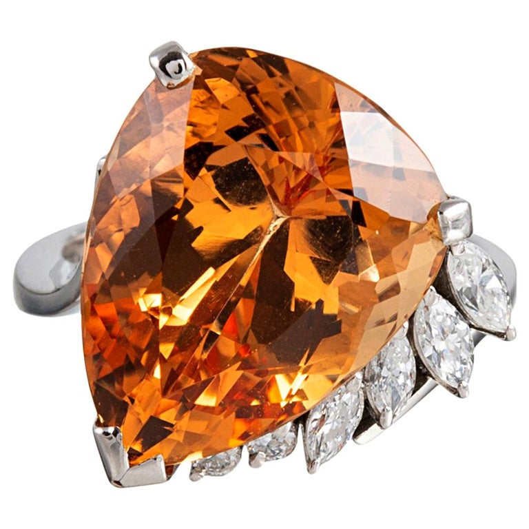 Midcentury Topaz and Diamond Ring For Sale