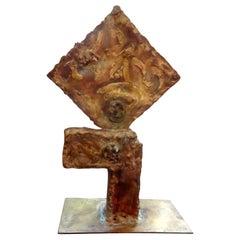 Midcentury Torch Cut Metal Abstract Brutalist Sculpture