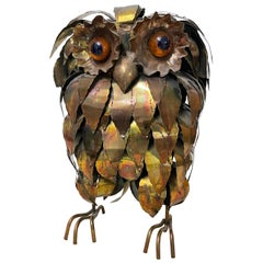 Midcentury Torch Cut Owl Sculpture in the Style of Curtis Jere