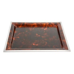 Midcentury Tortoiseshell and Lucite Italian Serving Tray after Willy Rizzo 1970s