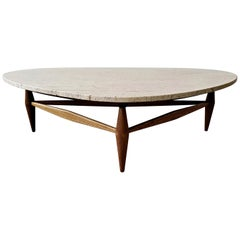 Midcentury Travertine and Oak Coffee Table