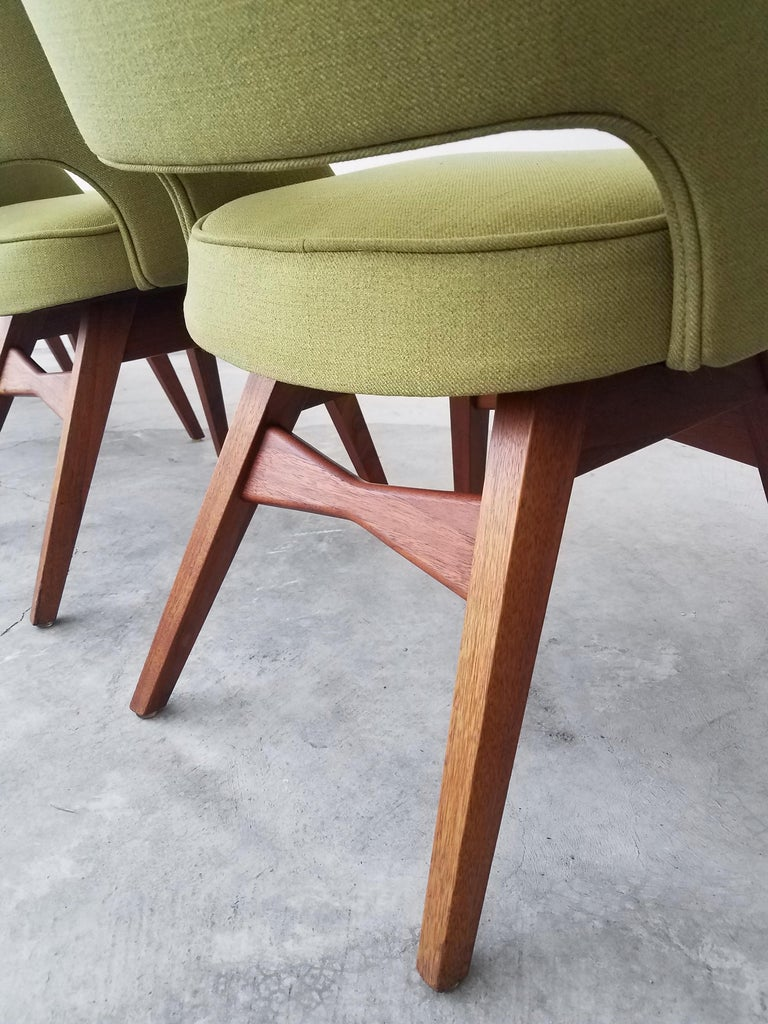 Midcentury Travertine and Walnut Game Table and Chairs Set  5