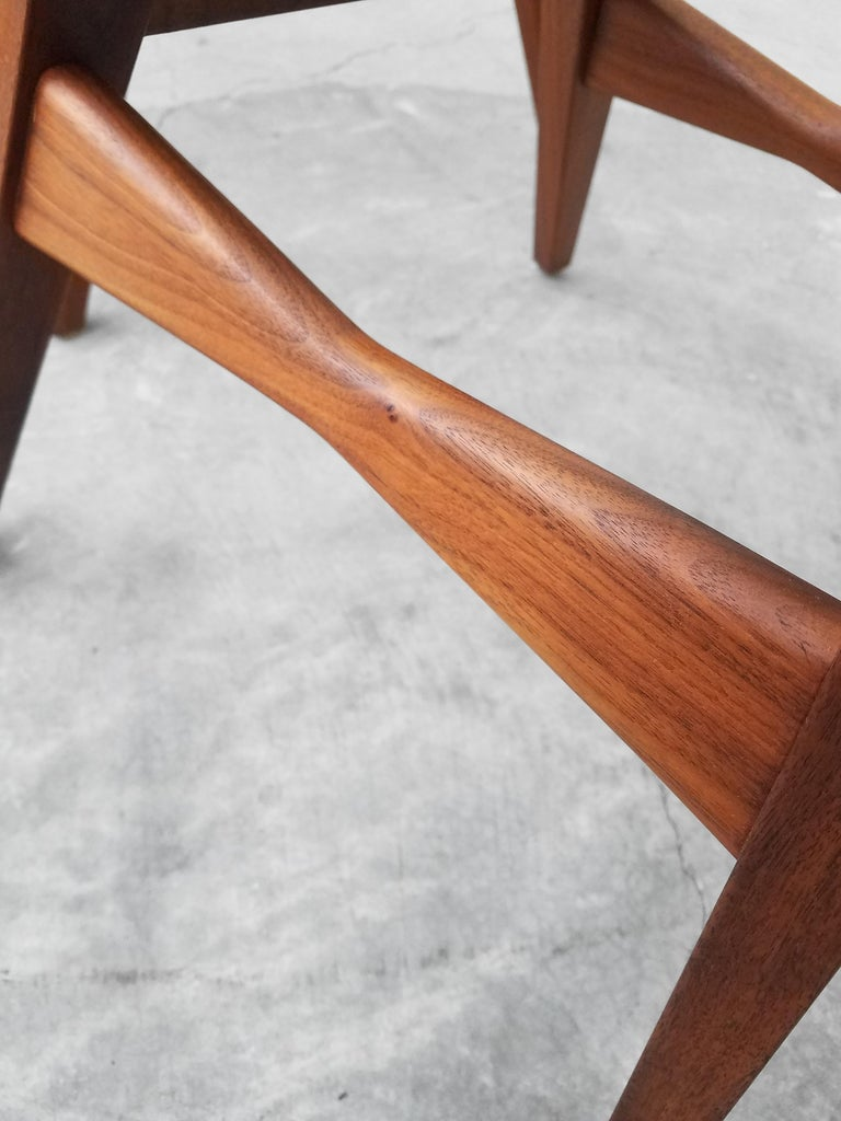 Midcentury Travertine and Walnut Game Table and Chairs Set  6