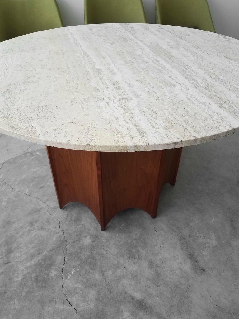 Mid-Century Modern Midcentury Travertine and Walnut Game Table and Chairs Set