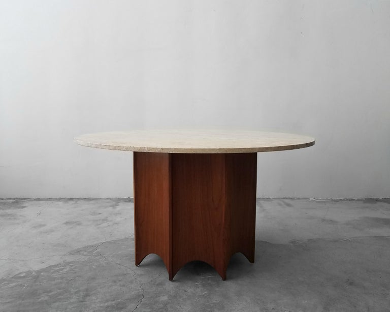 Midcentury Travertine and Walnut Game Table and Chairs Set  In Good Condition In Las Vegas, NV